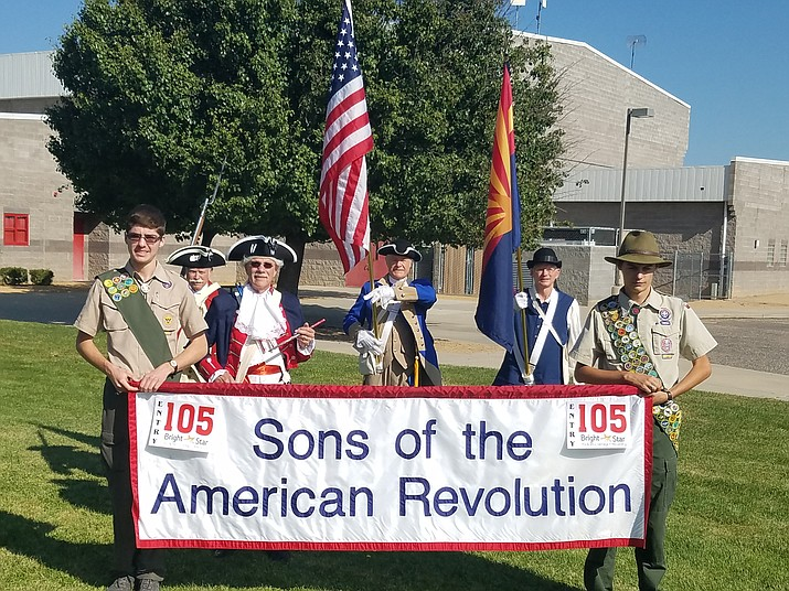 Pictured from left to right are Eagle Scout Trevor Huber; Past AZ State President Stephen Miller; Drummer Ed Lipphardt; AZ State President Steve Monez; Prescott Chapter President Wayne Hood; and Eagle Scout Michael Morgan. (Timothy Prater/Courtesy)