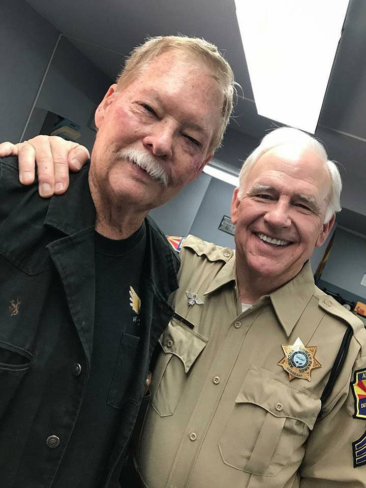 Frank Shankwitz, founder of the Make-A-Wish Foundation, poses with Robert Pine, the famed police sergeant of the TV show CHIPS (an inspiration behind Make A Wish). (Frank Shankwitz/Courtesy)
