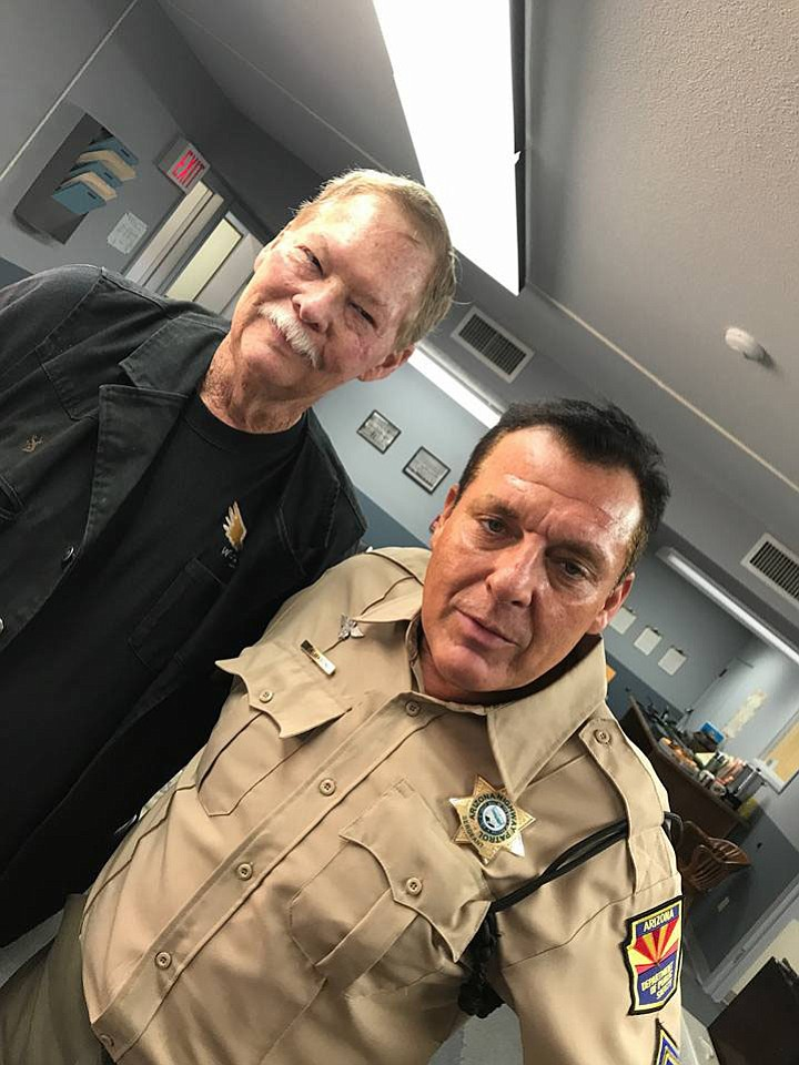 Frank Shankwitz poses with Tom Sizemore on the set of Wish Man. From Saving Private Ryan to Blackhawk Down, from Pearl Harbor to Natural Born Killers, Sizemore has become an iconic figure to movie goers worldwide. (Frank Shankwitz/Courtesy)