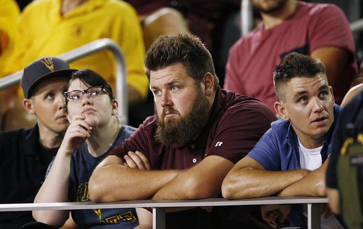 Arizona State fans watch the closing moments of a loss to San Diego State during the second half of an NCAA college football game Saturday, Sept. 9, 2017, in Tempe. San Diego State defeated Arizona State 30-20. (Ross D. Franklin/AP, File)