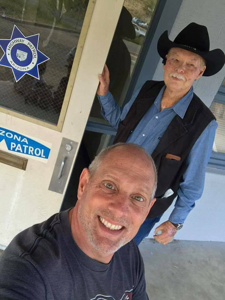 Producer Greg Reid grabs a selfie with Frank Shankwitz. Production of the Wish Man movie began in Prescott the week of Sept. 11. (Frank Shankwitz/Courtesy)