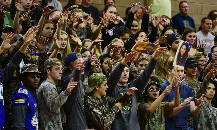 The Prescott student section cheers for the Badgers as they take on rival Bradshaw Mountain on Thursday, Sept. 14, 2017, in Prescott Valley. (Les Stukenberg/Courier)