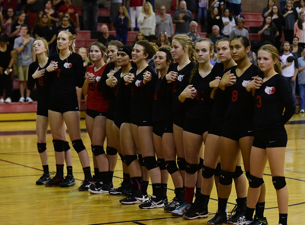 Bradshaw Mountain stand for the National Anthem as they hosted cross-town rival Prescott in a volleyball matchup Thursday, September 14 in Prescott Valley. (Les Stukenberg/Courier).