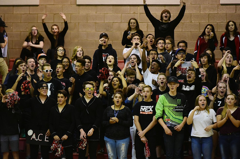 Bradshaw Mountain fans were out in force as they hosted cross-town rival Prescott in a volleyball matchup Thursday, September 14 in Prescott Valley. (Les Stukenberg/Courier).