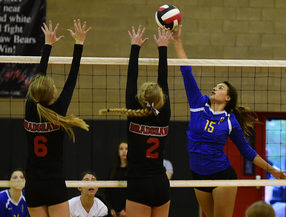 Prescott's Madison Wood goes for a kill as Bradshaw Mountain hosted cross-town rival Prescott in a volleyball matchup Thursday, September 14 in Prescott Valley. (Les Stukenberg/Courier).