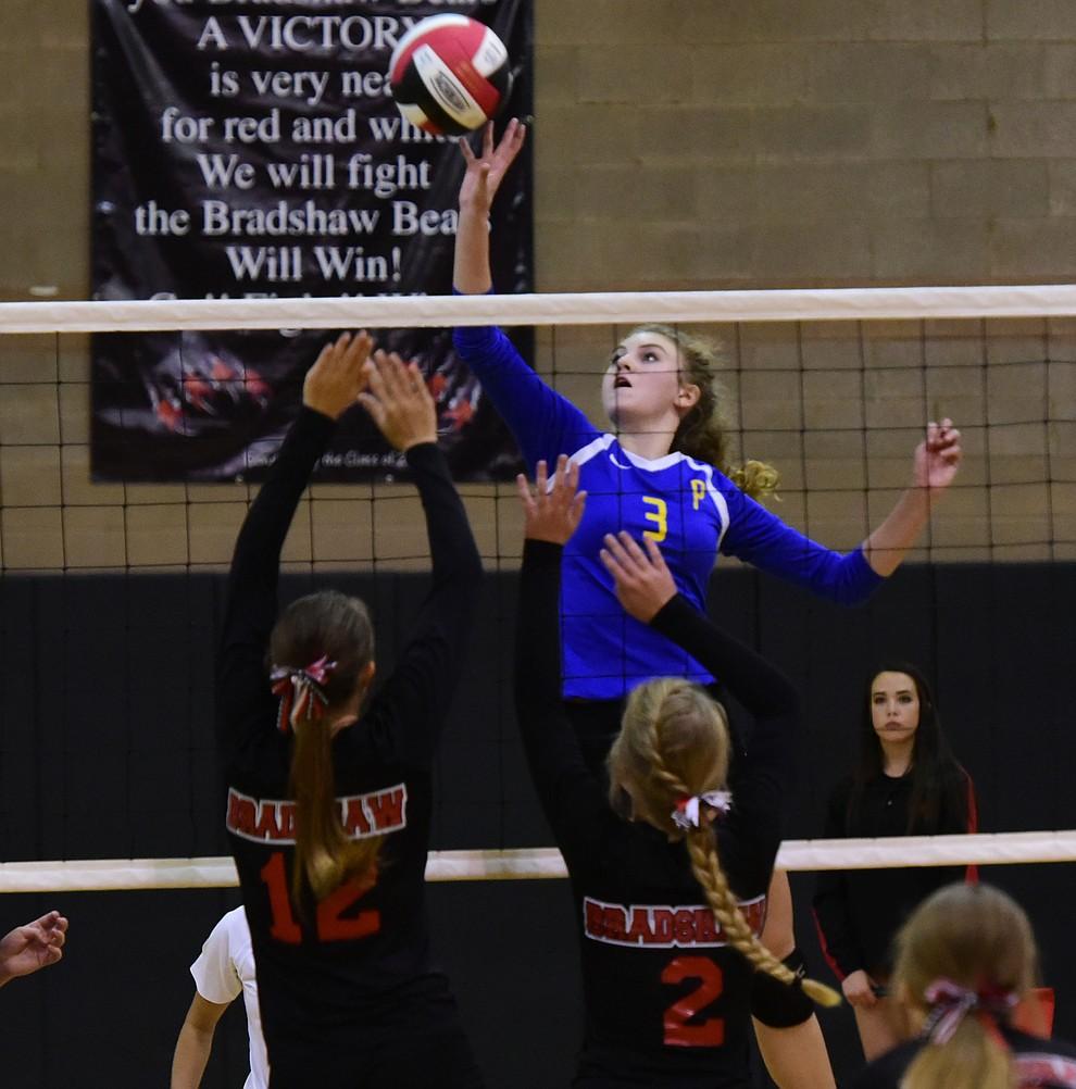 Prescott's Daphne Skinner (3) goes high for a kill as Bradshaw Mountain hosted cross-town rival Prescott in a volleyball matchup Thursday, September 14 in Prescott Valley. (Les Stukenberg/Courier).