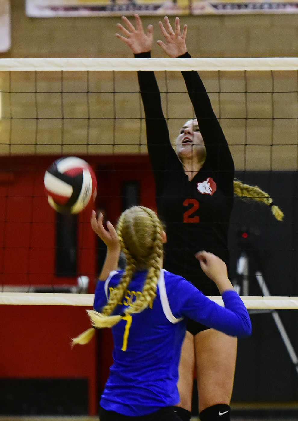 Saylor Ford (2) gets the block down as Bradshaw Mountain hosted cross-town rival Prescott in a volleyball matchup Thursday, September 14 in Prescott Valley. (Les Stukenberg/Courier).