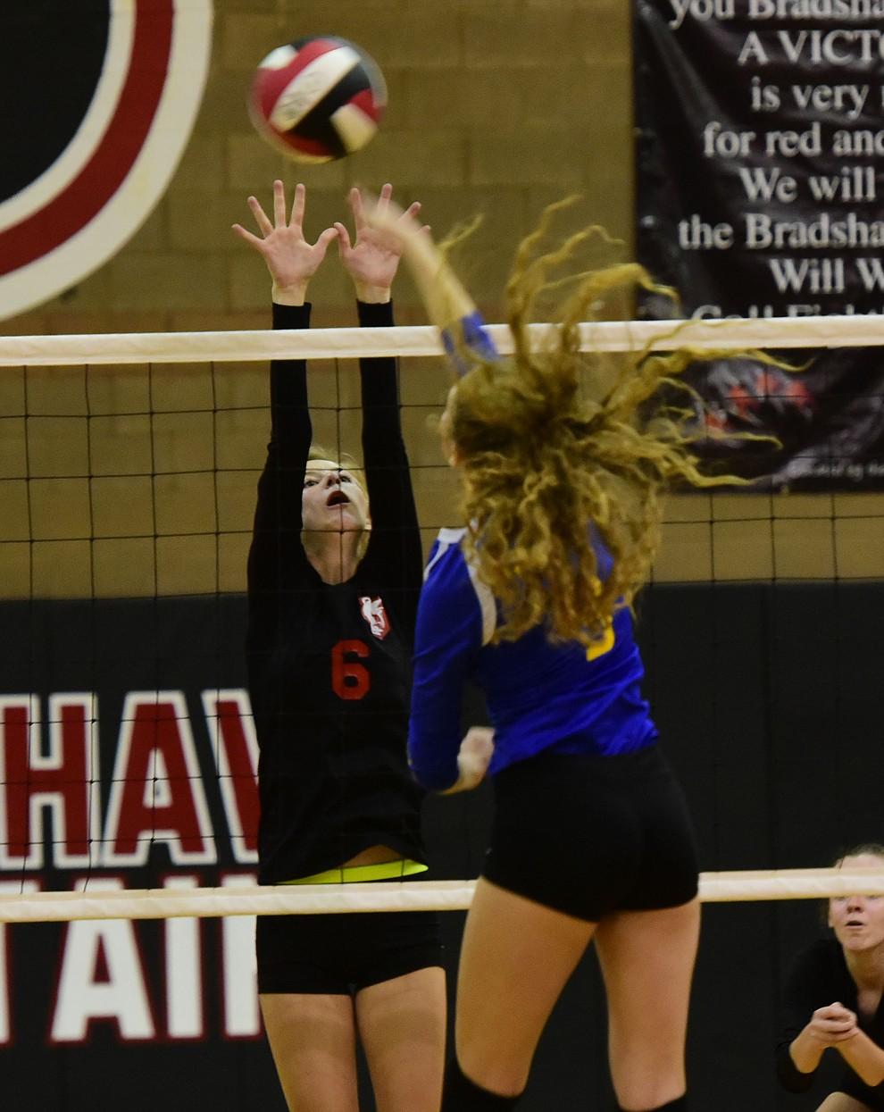 Nikalia Calia (6) gets the block on Prescott's Daphne Skinner (3) as Bradshaw Mountain hosted cross-town rival Prescott in a volleyball matchup Thursday, September 14 in Prescott Valley. (Les Stukenberg/Courier).