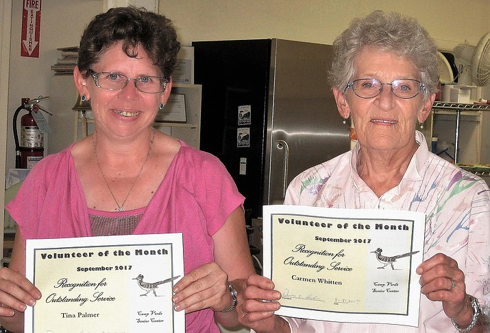 The Camp Verde Senior Center has selected Carmen Whitten and her daughter, Tina Palmer, as the Volunteers of the Month for the month of September. Both Carmen and Tina work in the Thrift Store. These ladies do a lot of hard work for the store and know how to have a good time while doing it.