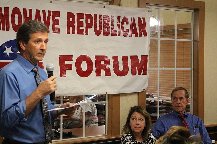 Brian Turney, chief executive officer of KRMC, outlines the hospital's plans to purchase city-owned land around Interstate 40 and build the Kingman Crossing interchange at Wednesday's Mohave Republican Forum.