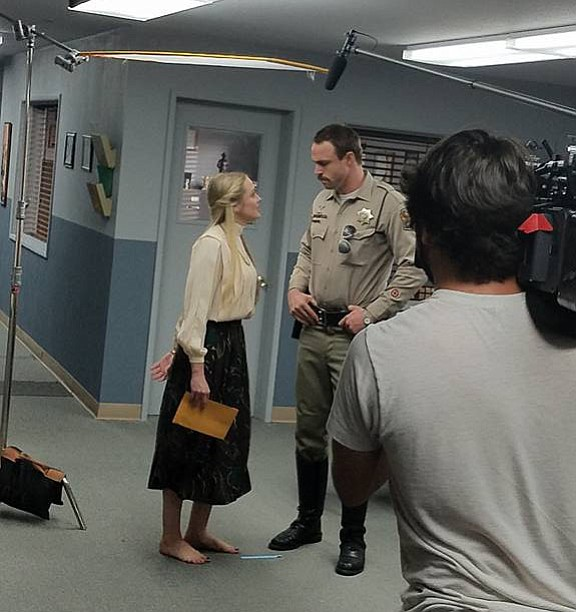 Kirby Bliss Blanton and Andrew Steel continue filming on day three of production of the Wish Man movie in Prescott, Sept. 13. (Frank Shankwitz/Courtesy).