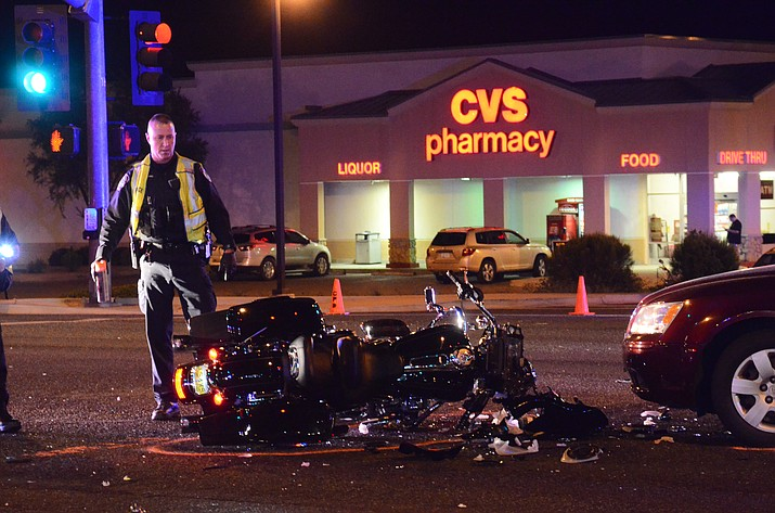 A motorcyclist from Michigan was flown to Flagstaff Medical Center after an accident at the intersection of SR 260 and Fir Street in Cottonwood on Friday around 7:30 p.m. (VVN/Vyto Starinskas)