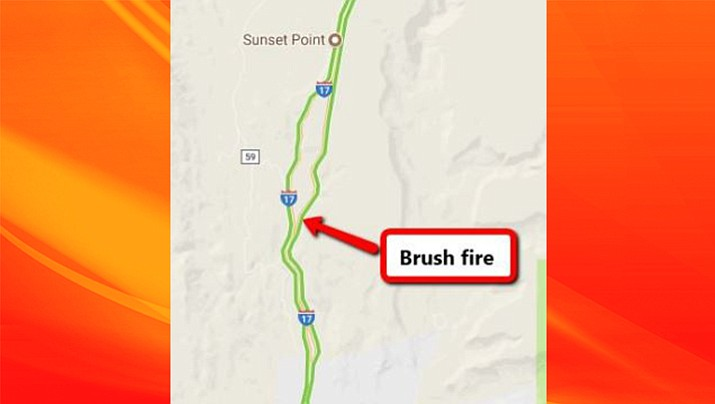 A brush fire burning in the median on Interstate 17 south of Sunset Point is causing extensive southbound delays, as of 4 p.m. Sept. 16, according to the Arizona Department of Transportation. For the most current information, visit ADOT's Travel Information Site at az511.gov, or follow ADOT on Twitter (@ArizonaDOT) or call 511.