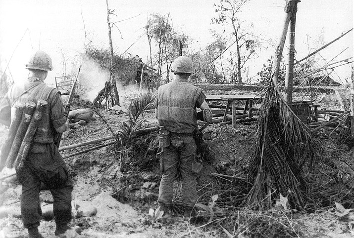 U.S. Marines move through the ruins of the hamlet of Dai Do after several days of intense fighting during the Tet Offensive, one of the largest military campaigns of the Vietnam War, launched on January 30, 1968. (United States Marine Corps photo)