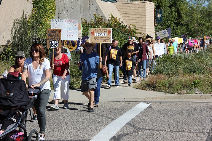At least 100 members of the community participated in Prescott's first Love and Unity March on Saturday, Sept. 16. (Max Efrein/Courier)
