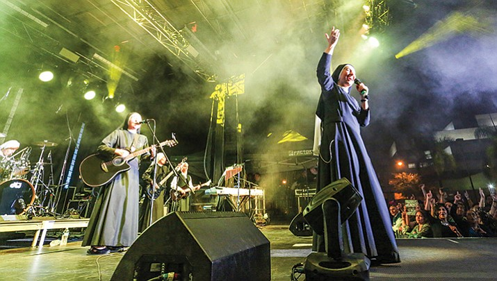 The band Siervas, made up of 11 nuns from Lima, Peru, performed at the Christ Festival Sept. 8  in Garden Grove, California.