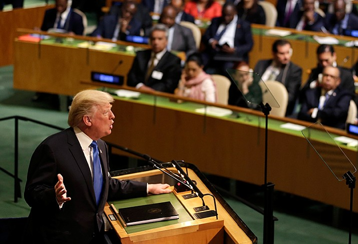 United States President Donald Trump speaks during the United Nations General Assembly at U.N. headquarters, Tuesday. (Seth Wenig/AP)