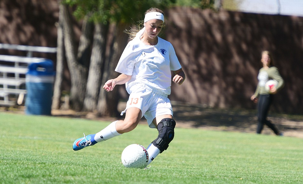 Chino Valley's Jessica Krogh opened the scoring as the Cougars routed Payson in a girls soccer matchup Tuesday afternoon in Chino Valley. (Les Stukenberg/Courier).