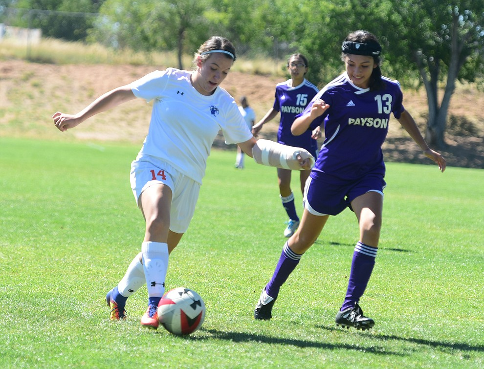 Chino Valley's Joelle Krogh drives toward the goal as the Cougars routed Payson in a girls soccer matchup Tuesday afternoon in Chino Valley. (Les Stukenberg/Courier).