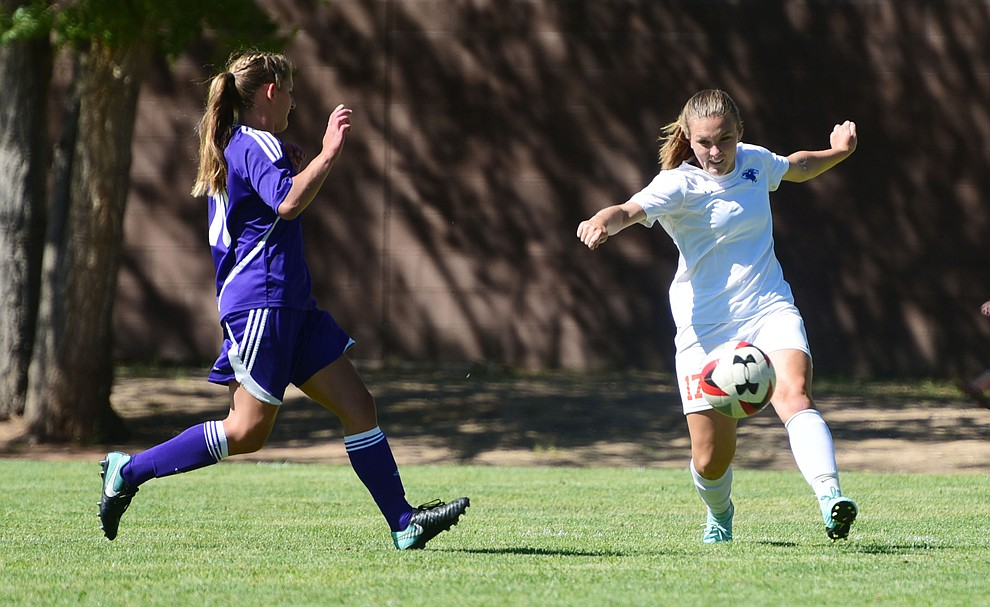 Chino Valley's Serena Reed makes a pass as the Cougars routed Payson in a girls soccer matchup Tuesday afternoon in Chino Valley. (Les Stukenberg/Courier).