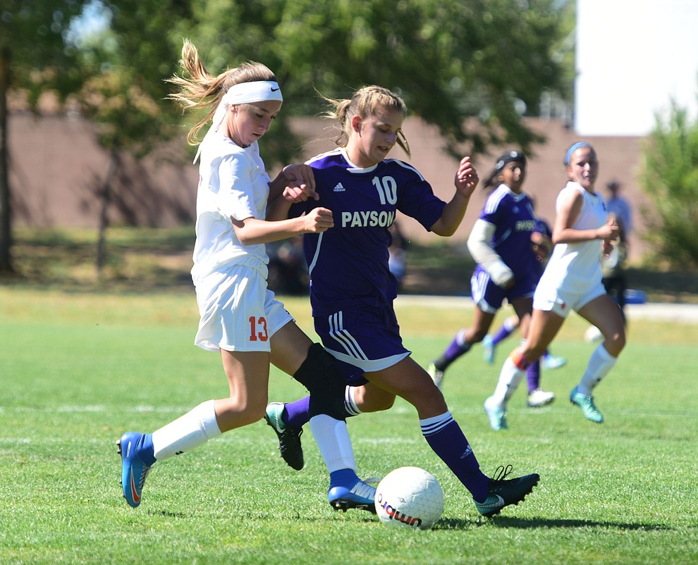 Chino Valley's Jessica Krogh gets another goal as the Cougars routed Payson in a girls soccer matchup Tuesday afternoon in Chino Valley. (Les Stukenberg/Courier).