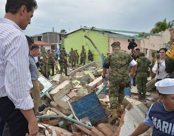 Mexican President Enrique Pena Nieto's visit to Tonala, Chiapas, a city affected by the 2017 Chiapas earthquake earlier this month.
