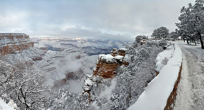 A snowy Grand Canyon as seen from the Rim Trail.