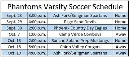 Grand Canyon Phantoms Varsity Soccer Schedule