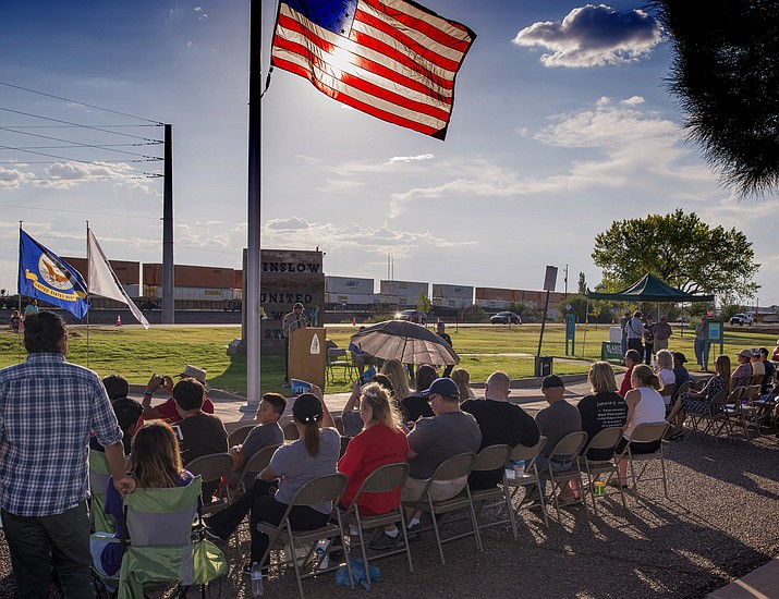 Community members gather in Winslow on 9/11 to remember and honor those who fell in New York City on Sept. 11, 2001. Photo/Todd Roth