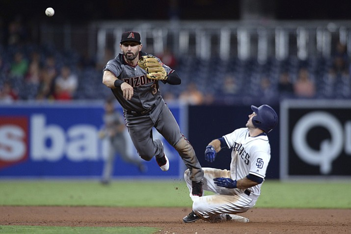 San Diego Padres Matt Szczur is forced out at second base by Arizona Diamondbacks second baseman Daniel Descalso as he throws to first base during the sixth inning Monday, Sept. 18, 2017, in San Diego. (Orlando Ramirez/AP)