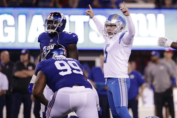 Detroit Lions kicker Matt Prater (5) celebrates after kicking a field goal during the first half against the New York Giants on Monday, Sept. 18, 2017, in East Rutherford, N.J. (Julio Cortez/AP)