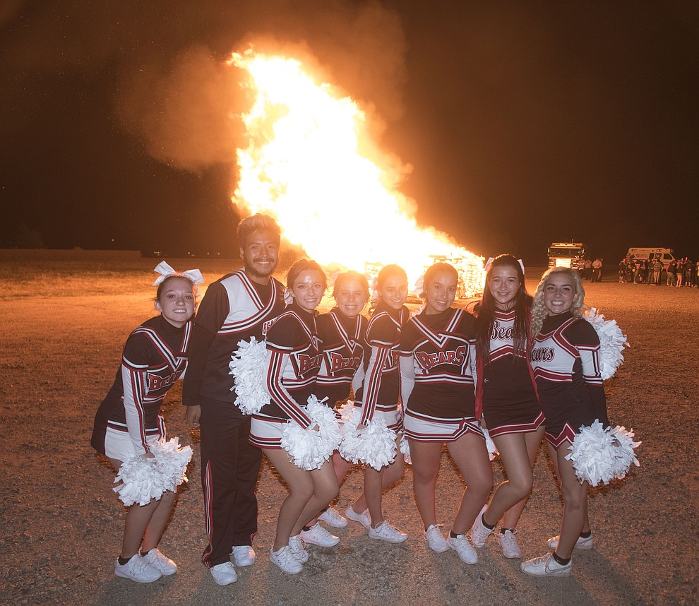 Cheerleaders pose for a photo as Bradshaw Mountain students gather for the annual bonfire as part of Homecoming week at the Prescott Valley School. (Les Stukenberg/Courier).