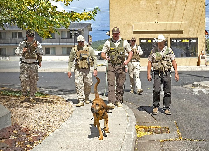 A team from Winslow's Department of Corrections works through scenario training Sept. 14 in Williams.