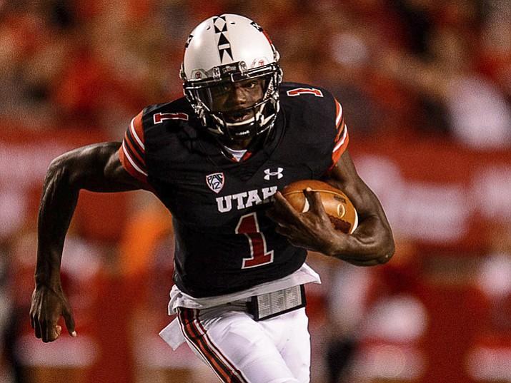 Utah quarterback Tyler Huntley carries the ball during a game against San Jose State on Saturday, Sept. 16, 2017, in Salt Lake City. (Trent Nelson/The Salt Lake Tribune via AP)