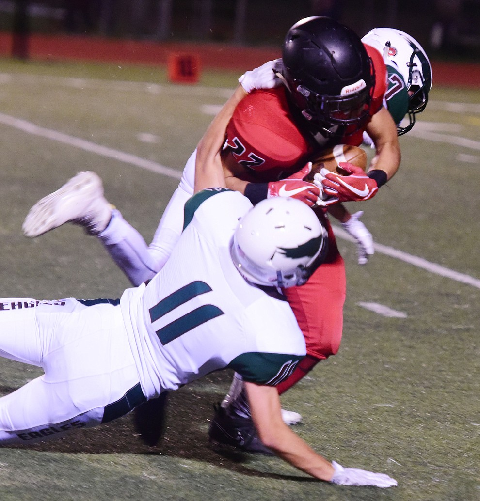 Bradshaw Mountain's Bryan Price (22) makes yards after a catch as the Bears take on Flagstaff Friday, September 22 in Prescott Valley. (Les Stukenberg/Courier)