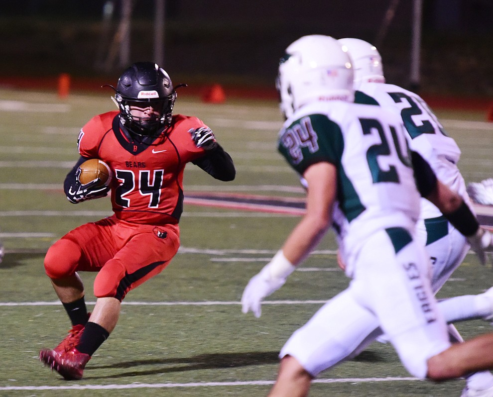Bradshaw Mountain's Victor Arenas looks to cut back as the Bears take on Flagstaff Friday, September 22 in Prescott Valley. (Les Stukenberg/Courier)