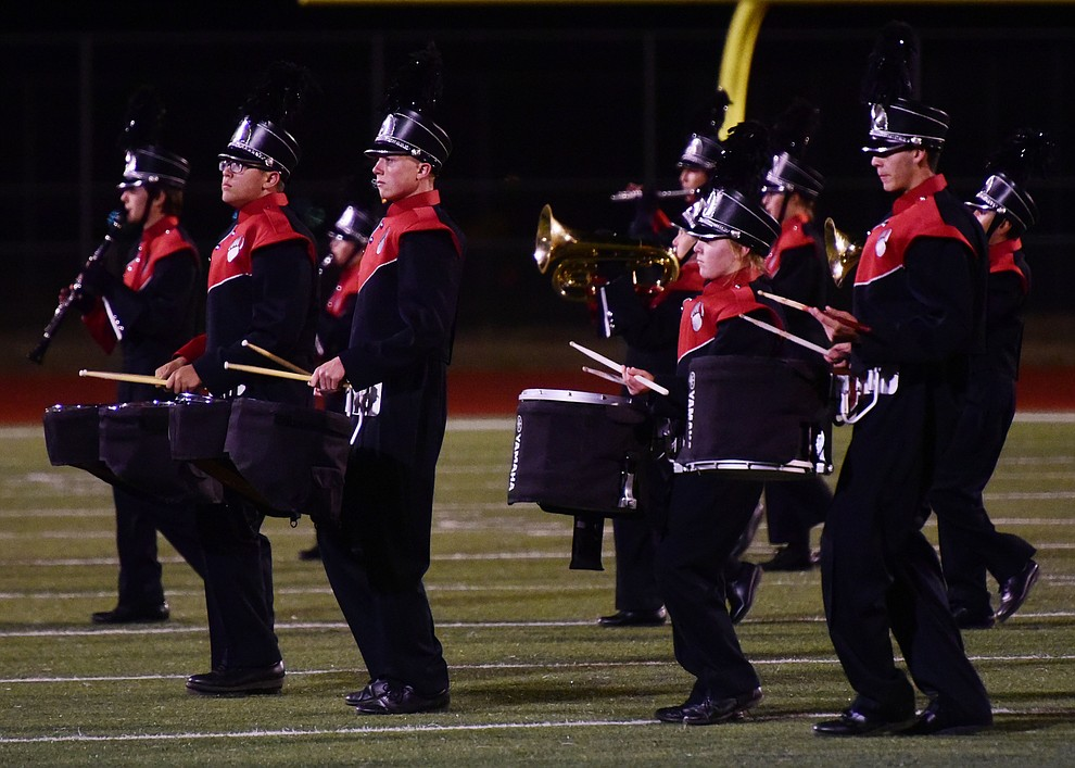 Bradshaw Mountain's Marching Band performs during halftime of the 2017 Homecoming Game against Flagstaff Friday, September 22 in Prescott Valley. (Les Stukenberg/Courier)