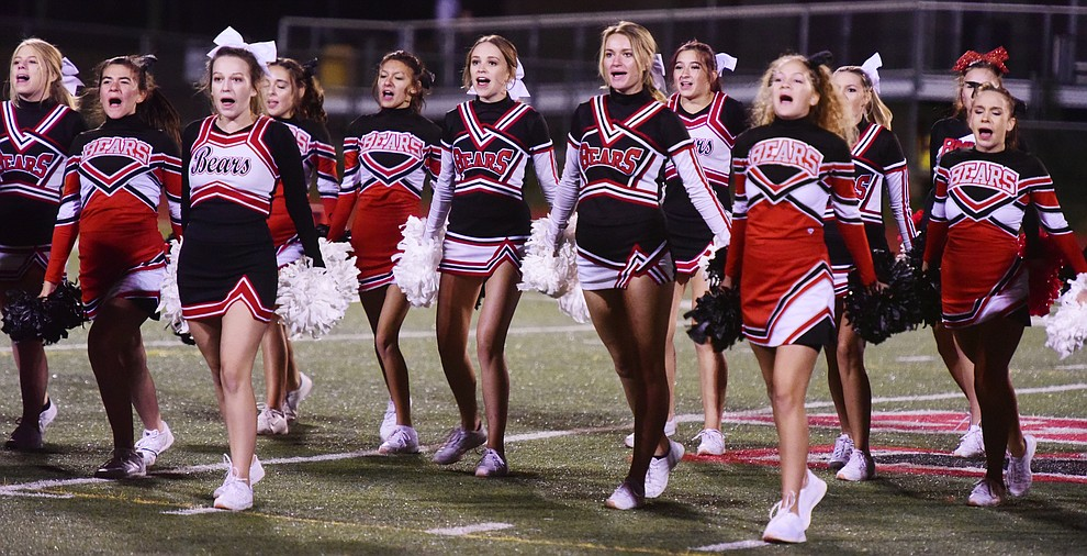 Bradshaw Mountain's Cheerleaders perform during halftime of the 2017 Homecoming Game against Flagstaff Friday, September 22 in Prescott Valley. (Les Stukenberg/Courier)