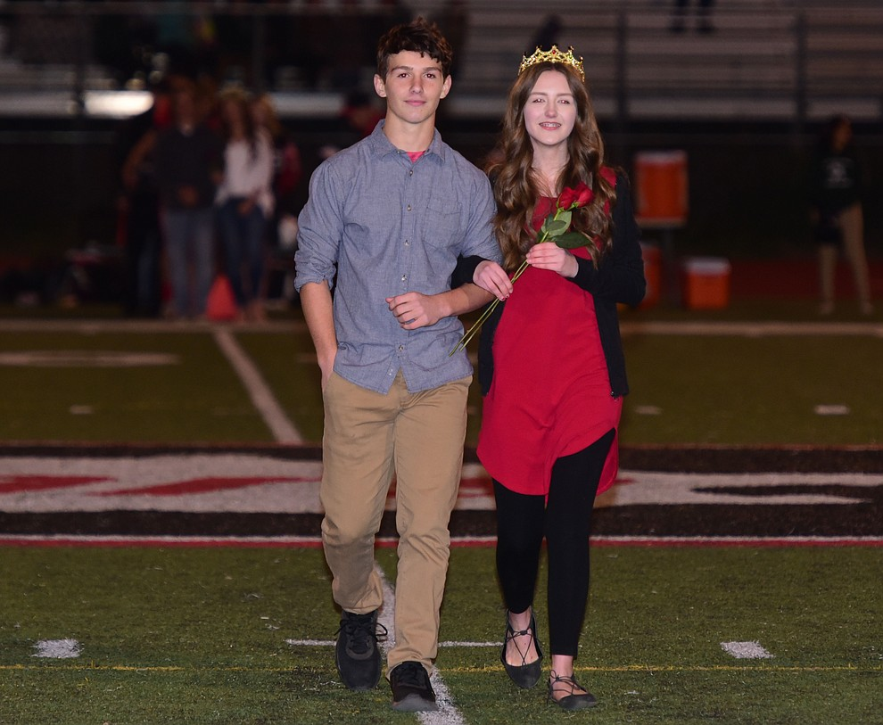 Bradshaw Mountain's 2017 Homecoming Lord and Lady sophomores Titus King and Laine Miller during halftime of the game against Flagstaff Friday, September 22 in Prescott Valley. (Les Stukenberg/Courier)