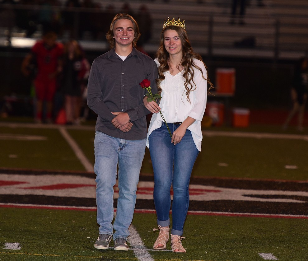 Bradshaw Mountain's 2017 Homecoming Prince and Princess Juniors Chase Torp and Courtnie Cobb during halftime of the game against Flagstaff Friday, September 22 in Prescott Valley. (Les Stukenberg/Courier)