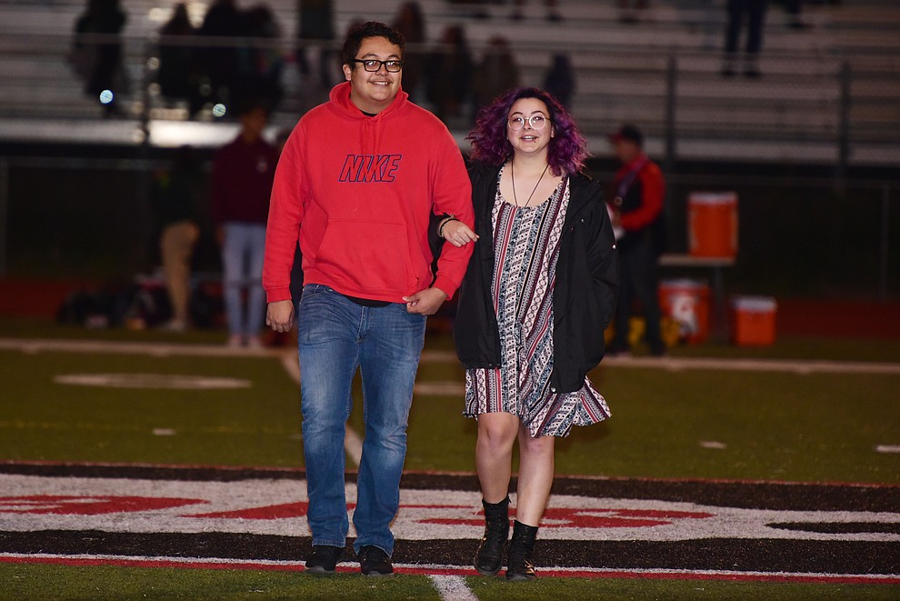 Bradshaw Mountain's 2017 Homecoming seniors Omar Sotelo and Aleeza Cordova during halftime of the game against Flagstaff Friday, September 22 in Prescott Valley. (Les Stukenberg/Courier)