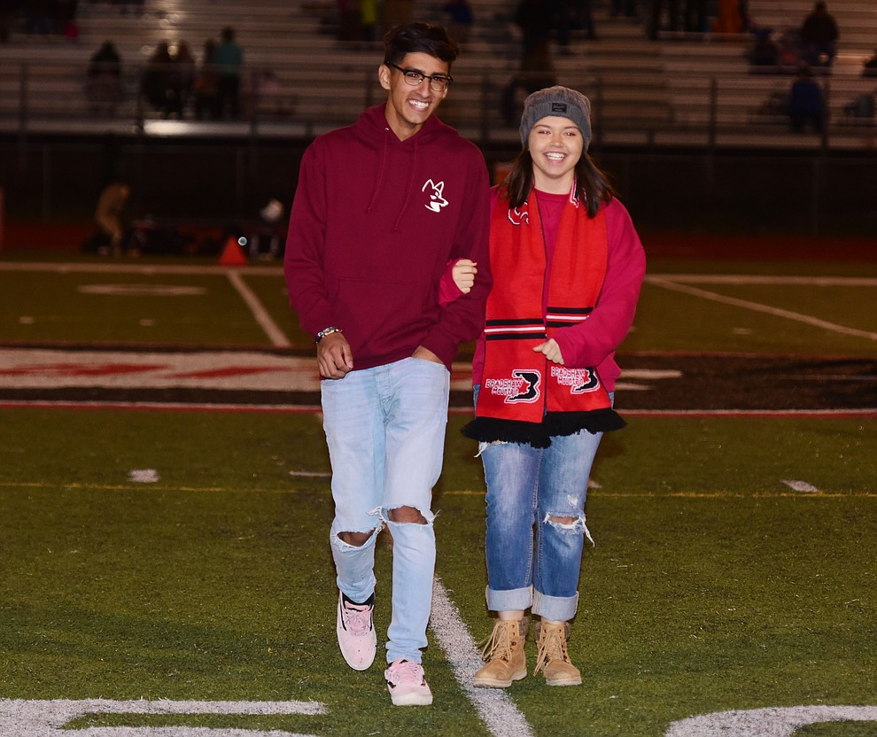 Bradshaw Mountain's 2017 Homecoming Seniors Omar Mejia and Alex Fabela during halftime of the game against Flagstaff Friday, September 22 in Prescott Valley. (Les Stukenberg/Courier)