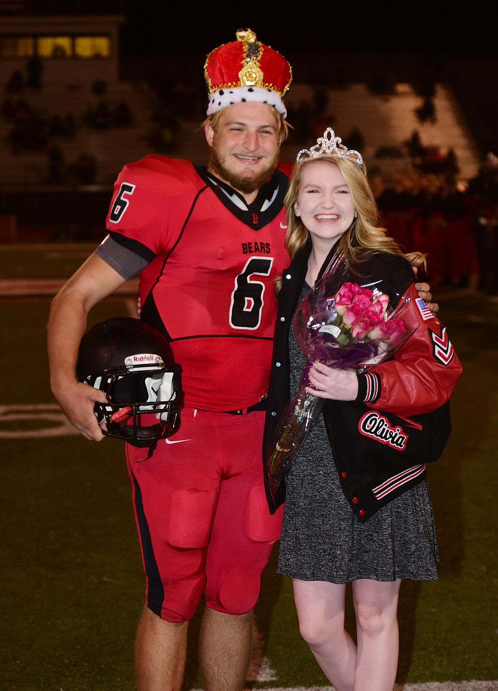 Bradshaw Mountain's 2017 Homecoming King and Queen Timmy Young and Olivia Keating were crowned during halftime of the game against Flagstaff Friday, September 22 in Prescott Valley. (Les Stukenberg/Courier)