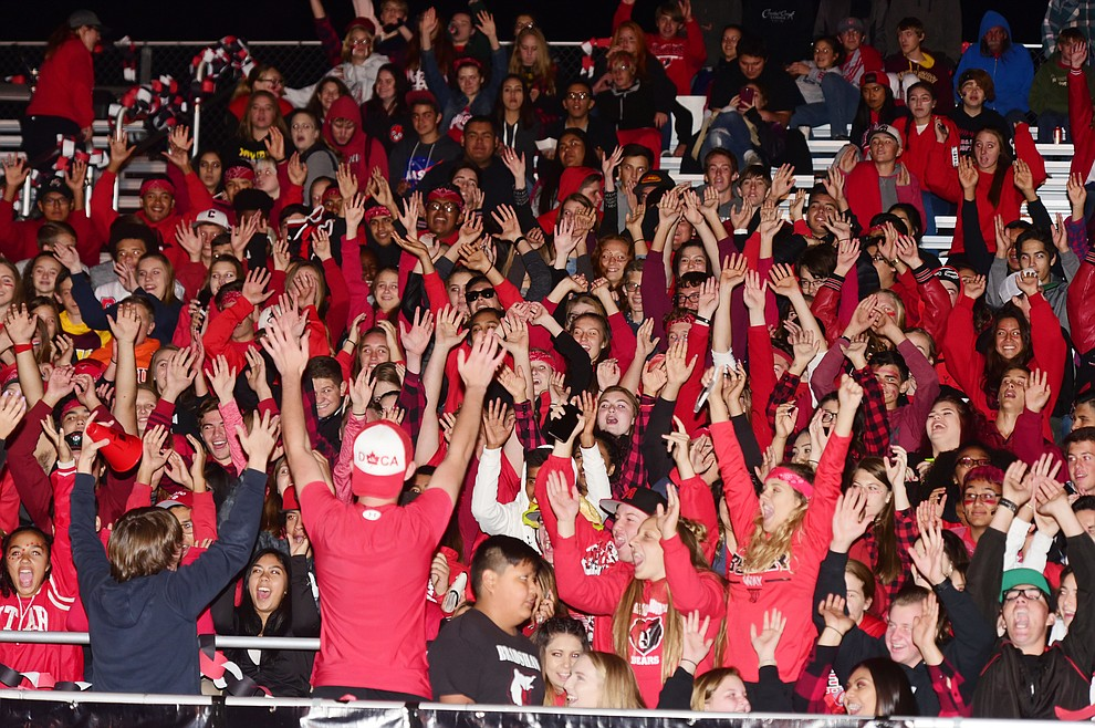 Bradshaw Mountain's student section gets rowdy during halftime of the 2017 Homecoming Game against Flagstaff Friday, September 22 in Prescott Valley. (Les Stukenberg/Courier)