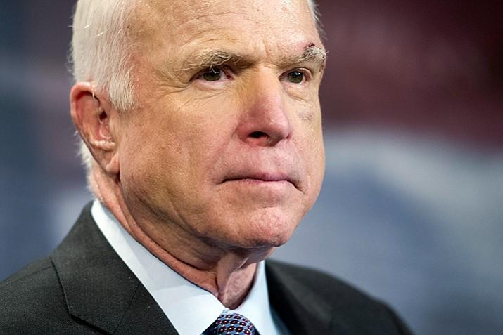 Sen. John McCain, R-Ariz., speaks to reporters on Capitol Hill in Washington. (Cliff Owen/AP, file)