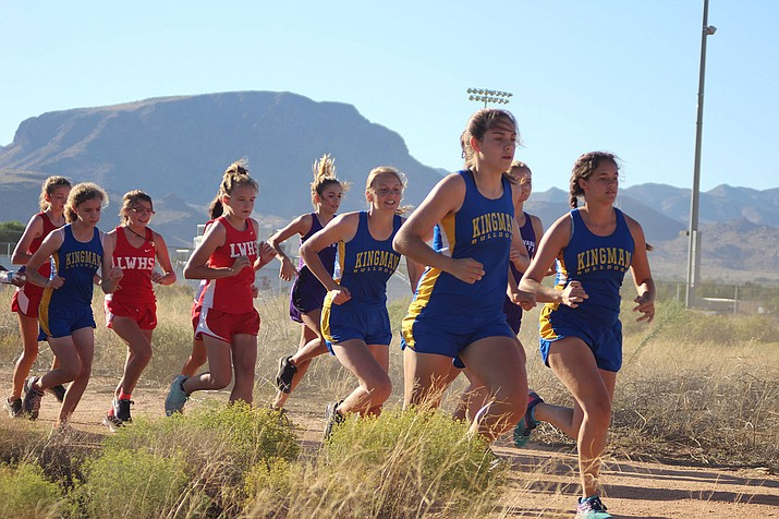 From right, Kingman's Celine Lucero White, Lilly May Garcia and Trinity Ostberg, followed by Lee Williams' 