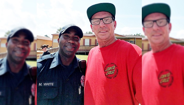Cottonwood's Ken Wood, right, and Patton Village, Texas, Police Officer Michael White worked hand in hand distributing food, water, and supplies to victims of Hurricane Harvey last week. (Photos courtesy of Ken Wood)