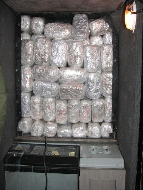 Smugglers used an aftermarket compartment to hide a load of marijuana