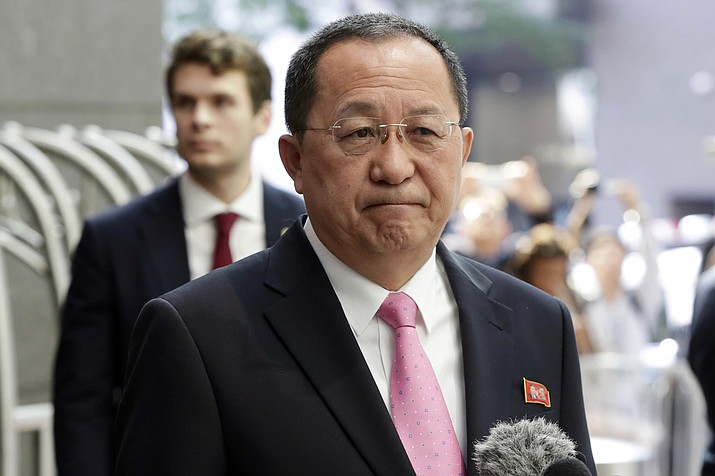 "North Korea's Foreign Minister Ri Yong Ho speaks outside the U.N. Plaza Hotel, in New York, Monday, Sept. 25, 2017. Ri told reporters that what he called Trump's ""declaration of war"" gives North Korea ""every right"" under the U.N. Charter to take countermeasures, ""including the right to shoot down the United States strategic bombers even if they're not yet inside the airspace border of our country."" (AP Photo/Richard Drew)"