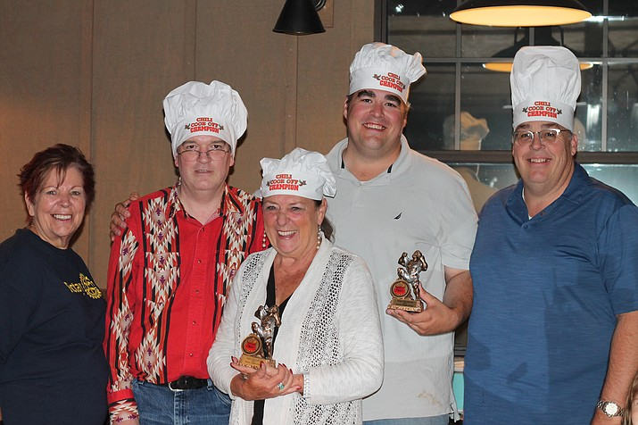 The Grand Canyon Rotary on the Rim held its annual chili cook-off Sept. 21 at Big E's Steakhouse and Saloon. From left: President-elect Sue Winchester, President Rob Gossard (Best Alternative Chili), ClayAnn Cook (Best Green Chili), Brady Harris (Best Red Chili and People's Choice Overall) and Marty Harris (Best Cornbread).